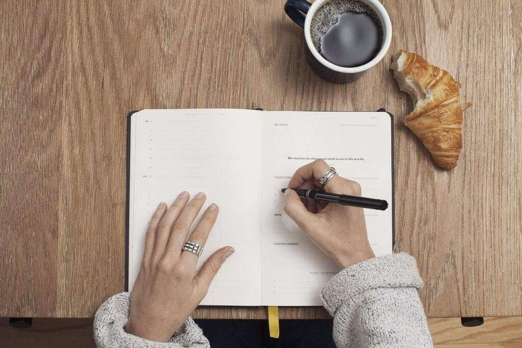 coffee, write goals, table