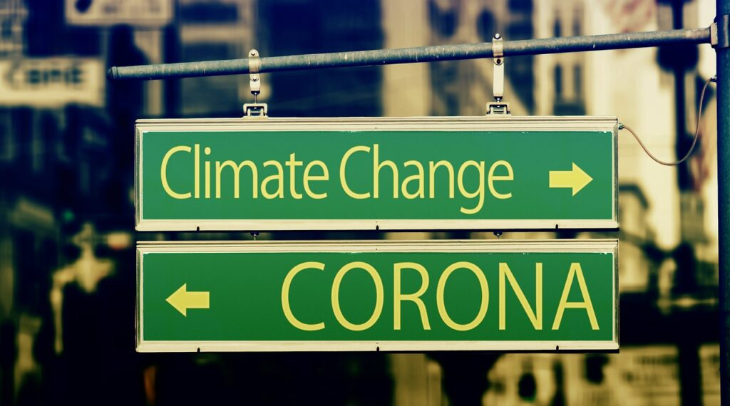 climate change, corona, street sign