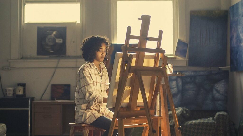 artist, painter, easel