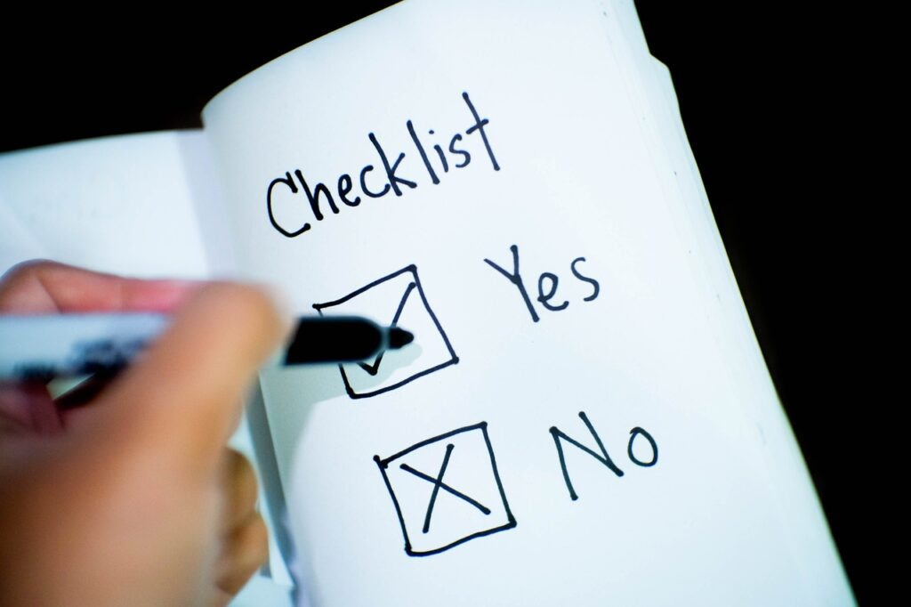 checklist, check yes or no, decision